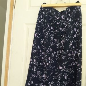 Dresses & Skirts - Long Black Skirt with Small Floral Print